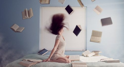 Books flung into air - Goodreads image